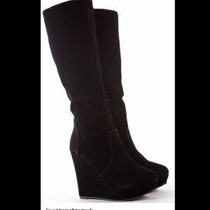 Steve Madden Ashley Suede black wedge boots
